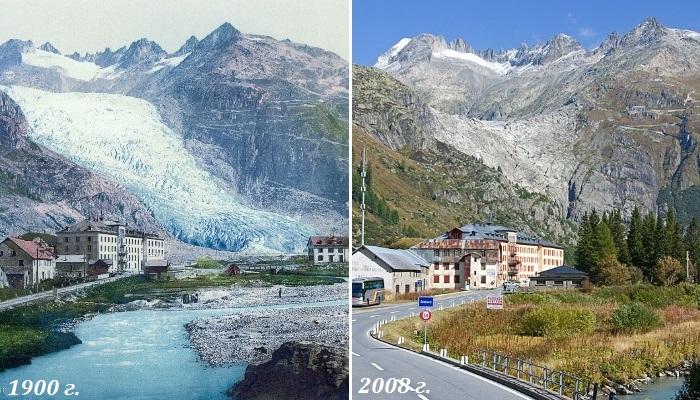 Ледники швейцарских Альп стремительно тают: сравнение фотографий с разницей в 100 лет