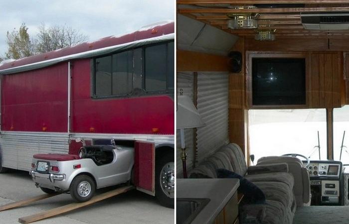 Энтузиасты превратили обыкновенный автобус в дом на колесах с гаражом для авто