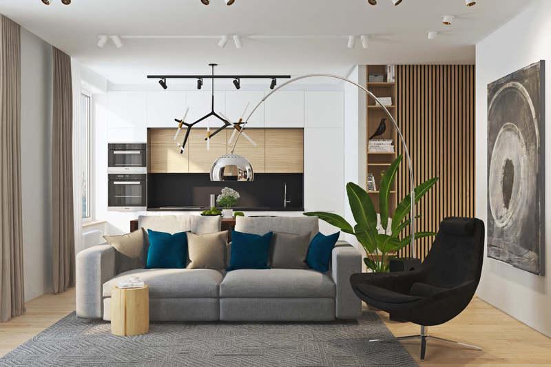 Интерьер квартиры из натуральных материалов в современном стиле