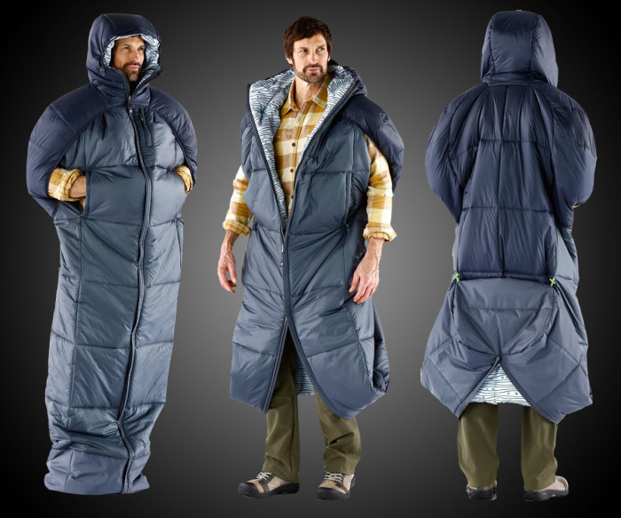 Легким движением руки, спальный мешок превращается в элегантную куртку