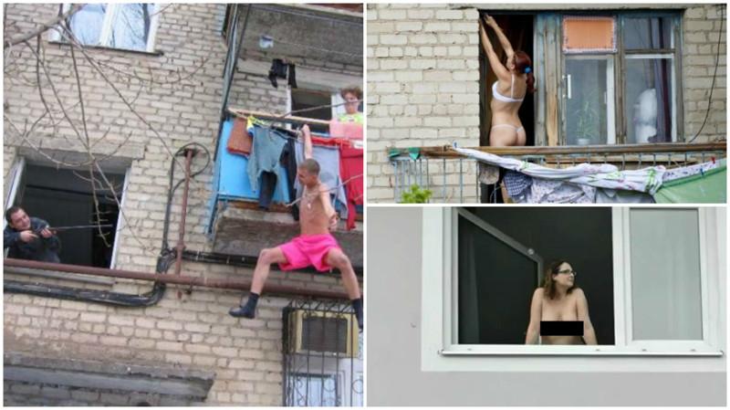 Аизнашего окна тётя голая видна! Чего только неувидишь, выглянув вокно утром