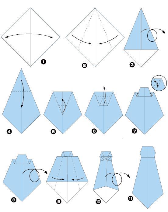 Как сложить галстук оригами: простая схема и видеоурок